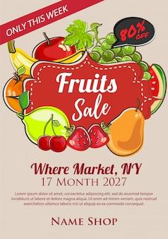 Poster de venda de frutas em estilo desenhado à mão
