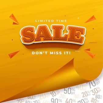 Pôster de venda ou design de modelo com papel ondulado amarelo em ofertas de desconto branco
