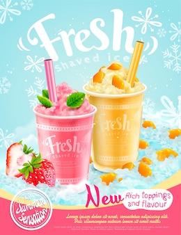 Pôster de verão gelado com sabores de morango e manga, frutas refrescantes e coberturas