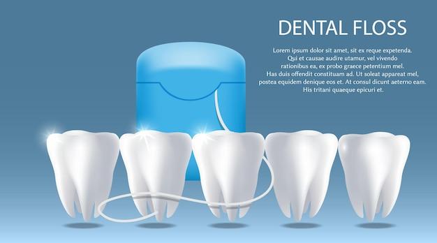 Pôster de vetor de fio dental para higiene bucal banner modelo odontologia dentes e gengiva saúde higiene