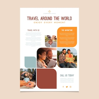Pôster de viagem ao redor do mundo