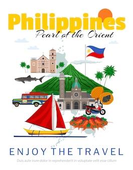 Pôster de viagem às filipinas com bandeira nacional e pontos de referência