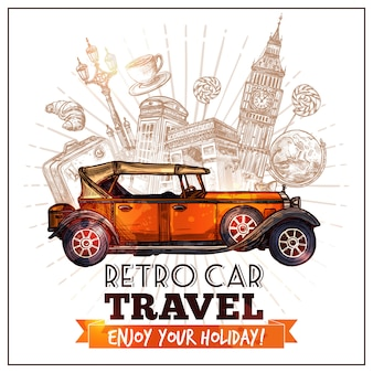 Poster de viagens de carro retrô