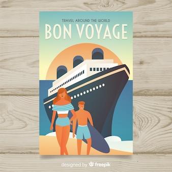 Poster de viagens vintage plana com um cruzeiro