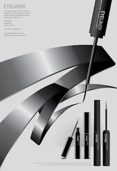 Poster delineador cosmético com embalagem
