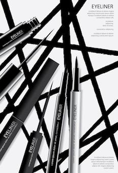 Poster delineador de cosméticos com ilustração de embalagem