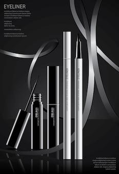 Poster delineador de cosméticos com ilustração vetorial de embalagem