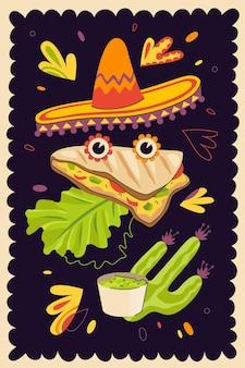 Pôster desenhado à mão de quesadilla de fast food mexicano para um menu de restaurante de culinária mexicana ou propaganda de restaurante. bandeira de prato tradicional latino-americano e sombrero. tortilha de trigo ou milho com queijo. eps