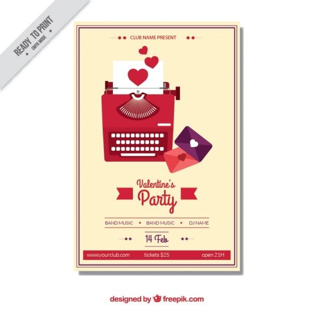 Poster dia dos namorados com máquina de escrever e letras
