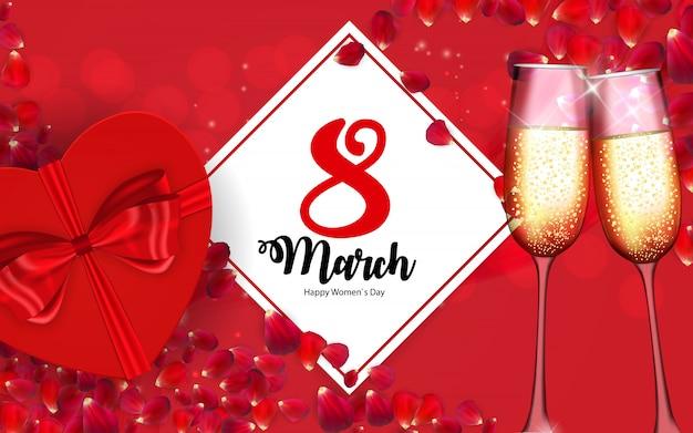 Poster dia internacional das mulheres felizes 8 de março cartão floral
