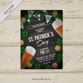 Poster dia realista de st patrick com cervejas e trevos