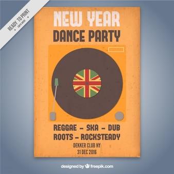 Poster do ano novo com um vinil