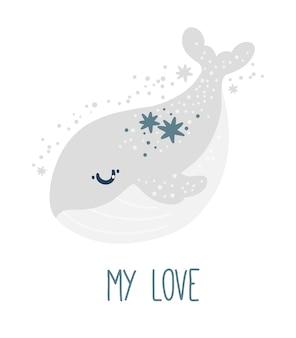 Pôster do berçário com uma baleia fofa e estrelas em um fundo branco estampa animal my love kids