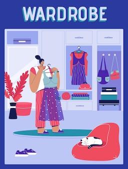 Pôster do conceito de guarda-roupa mulher segurando o vestido no cabide