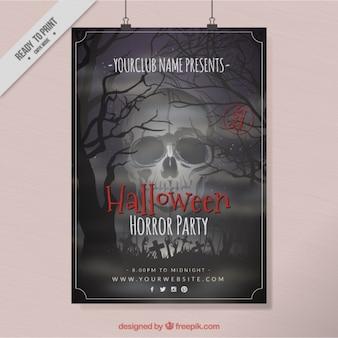 Poster do crânio do dia das bruxas