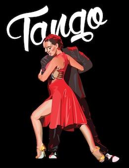 Poster do design do partido do tango. ilustração vetorial.