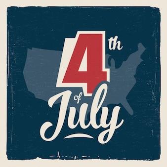 Poster do dia da independência no estilo do vintage