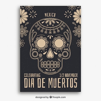 Poster do dia da morte com caveira vintage