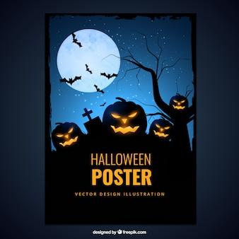 Poster do dia das bruxas com abóbora assustador
