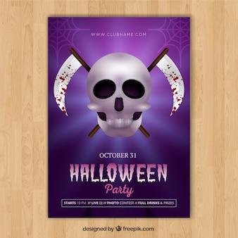 Poster do dia das bruxas com crânio e foice