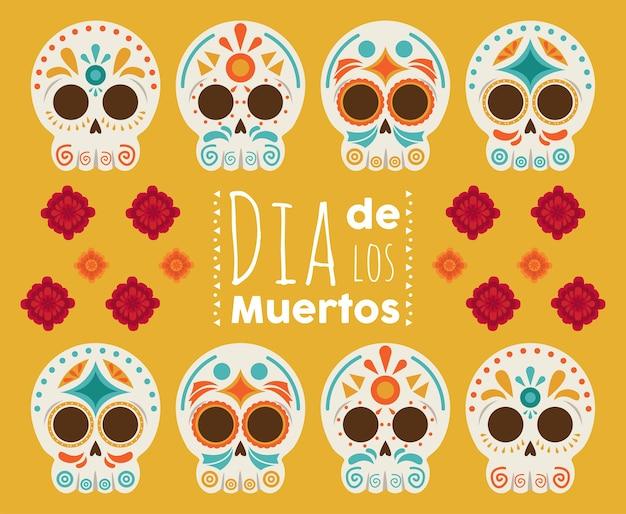 Pôster do dia de los muertos com cabeças, crânios e flores