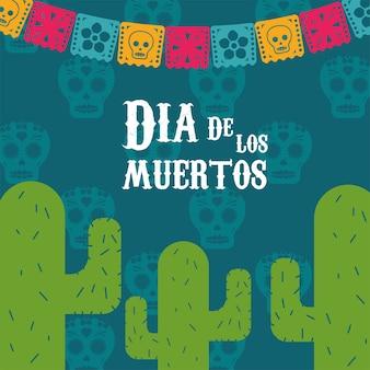 Pôster do dia de los muertos com cactos e guirlandas pendurados na ilustração.