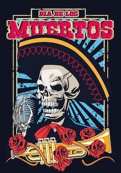 Pôster do dia de los muertos com desenho de ilustração vetorial de crânio e trombeta de mariachi