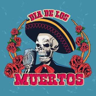 Pôster do dia de los muertos com o crânio de mariachi cantando com microfone e rosas design de ilustração vetorial