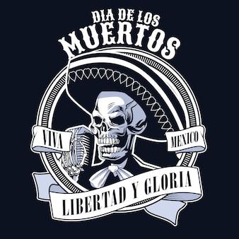 Pôster do dia de los muertos com o crânio de mariachi cantando com o microfone cores monocromáticas ilustração vetorial