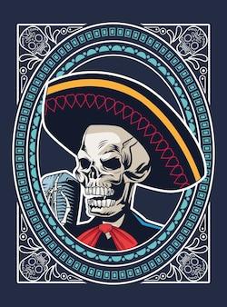 Pôster do dia de los muertos com o crânio de mariachi cantando com o microfone desenho de ilustração vetorial moldura quadrada