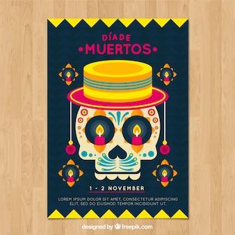 Poster do dia dos mortos com caveira engraçada