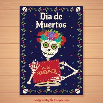 Poster do dia dos mortos com esqueleto feliz