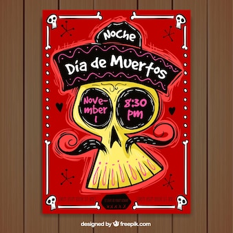 Poster do dia dos mortos com estilo desenhado a mão