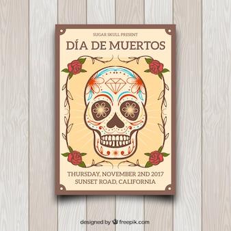Poster do dia dos mortos do vintage com crânio