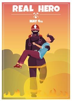 Pôster do dia internacional dos bombeiros