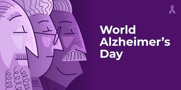 Pôster do dia mundial de alzheimer em cores violetas