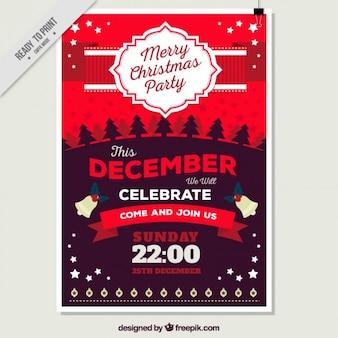 Poster do feliz natal em tons vermelhos
