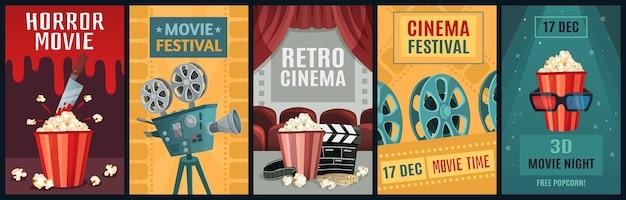 Pôster do filme. modelo de cartazes de filme de terror, câmera de cinema e filmes retrô à noite.