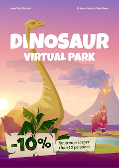 Pôster do parque virtual de dinossauros