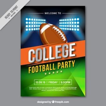 Poster do partido da faculdade com uma bola de rugby