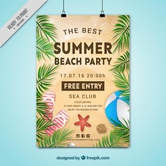 Poster do partido da praia do verão com folhas de palmeira