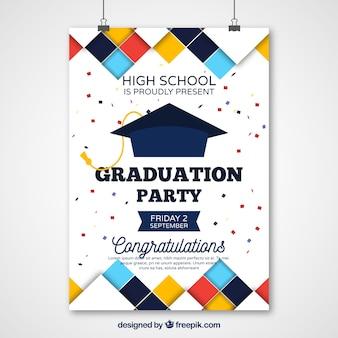 Poster do partido de graduação com quadrados coloridos