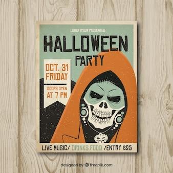 Poster do partido de halloween com esqueleto vintage