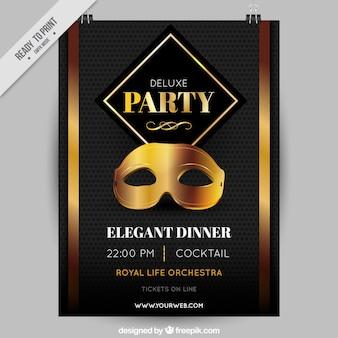 Poster do partido de luxo com máscara de ouro
