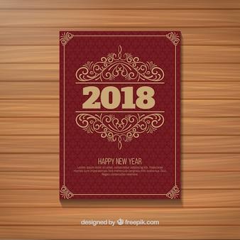 Poster do partido do ano novo do vintage no vermelho escuro