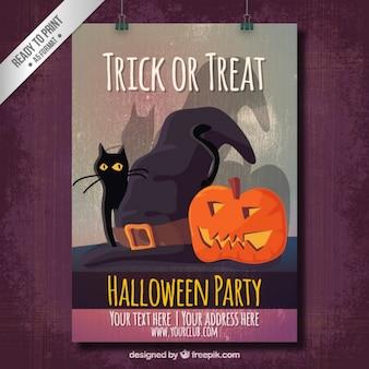 Poster do partido do dia das bruxas com um gato e uma abóbora