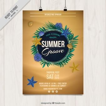 Poster do partido do verão com folhas de palmeira