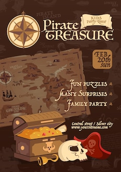 Pôster do tesouro do pirata em estilo vintage para festa em família e ilustração dos desenhos animados da busca das crianças