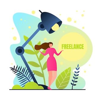 Poster é escrito freelance, menina trabalha em casa.