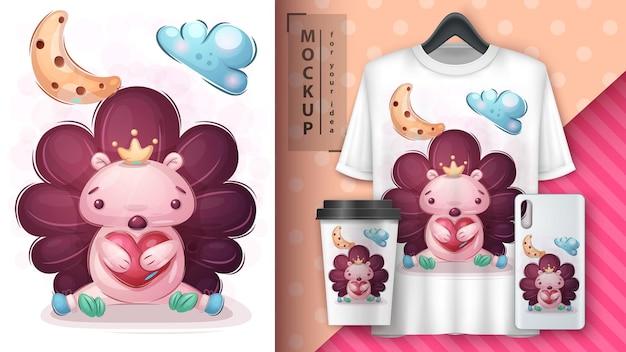 Pôster e merchandising de ouriço de amor
